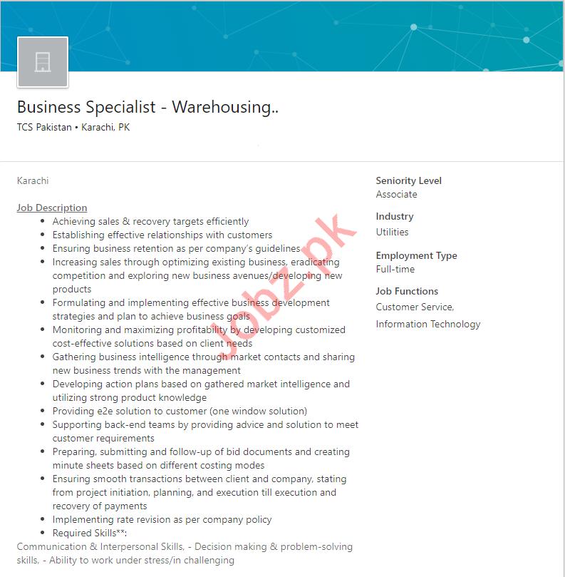Business Specialist Warehousing Job 2019 in Karachi
