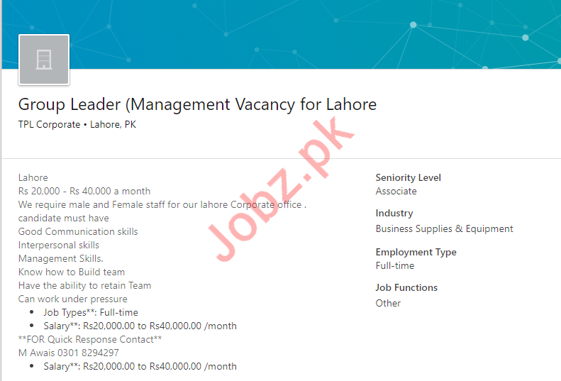 Group Leader Job 2019 in Lahore