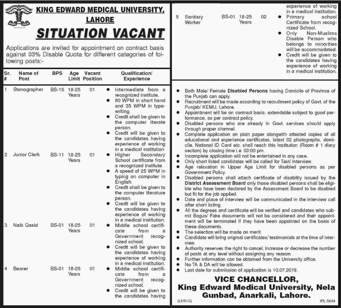King Edward Medical University Job in Lahore 2019