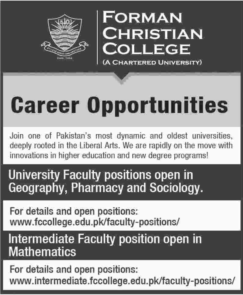 Forman Christian College Jobs 2019 in Lahore