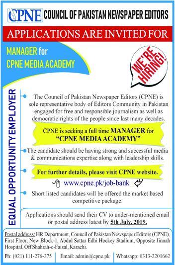 Council of Pakistan Newspaper Editors CPNE Jobs 2019 Job