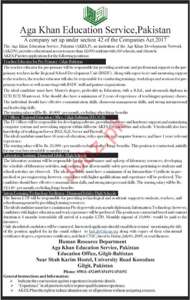 Aga Khan Education Services AKES Gilgit Jobs 2019