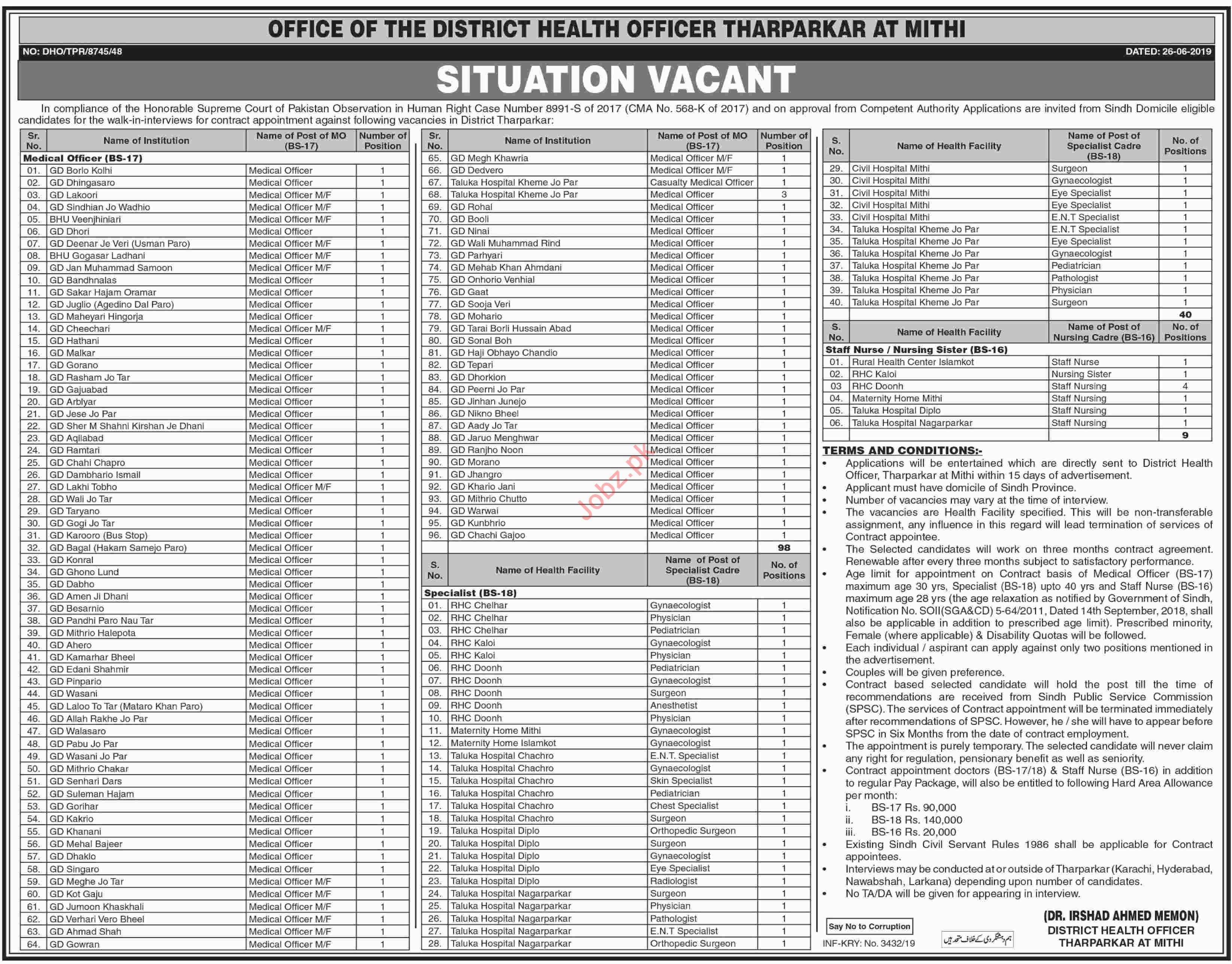 District Health Officer DHO Mithi Tharparkar Jobs 2019