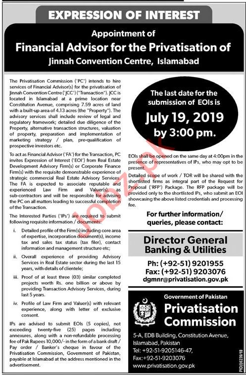 Ministry of Privatisation Jobs 2019 in Islamabad 2019 Job