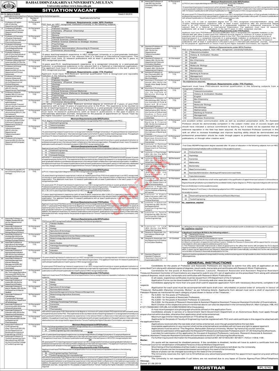 Bahauddin Zakariya University Multan BZU Jobs 2019