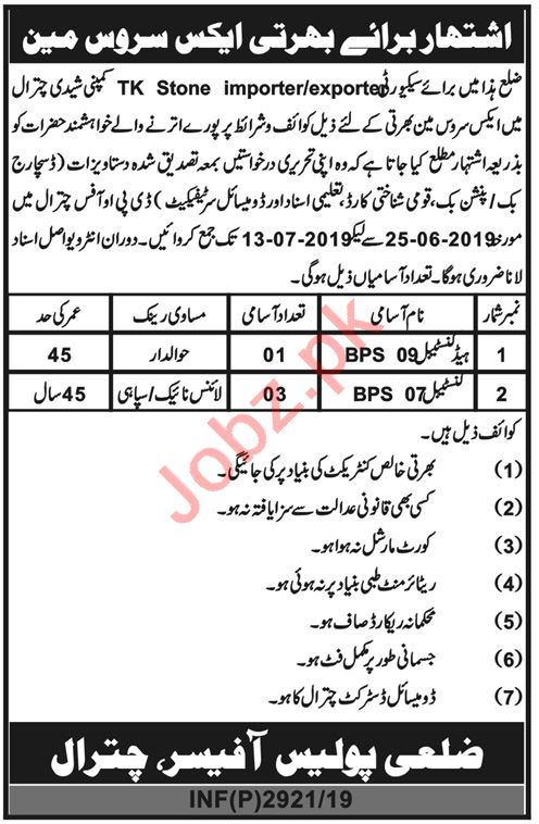 District Police Jobs 2019 in Chitral