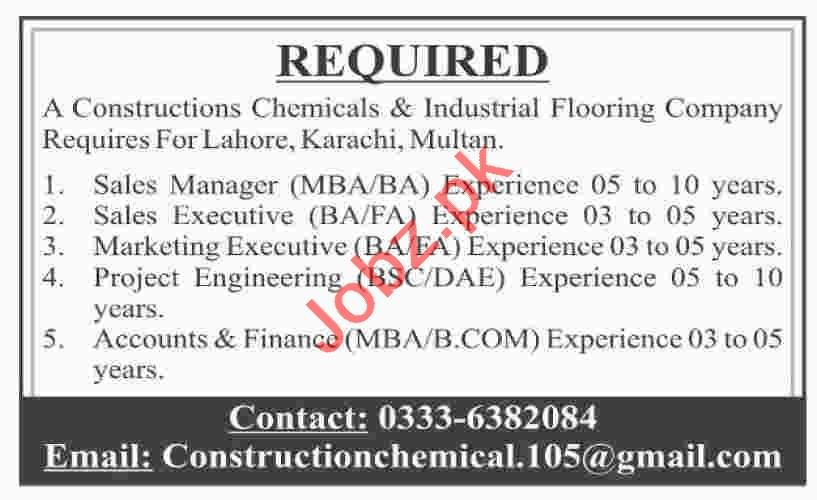 Constructions Chemicals & Industrial Flooring Company Jobs
