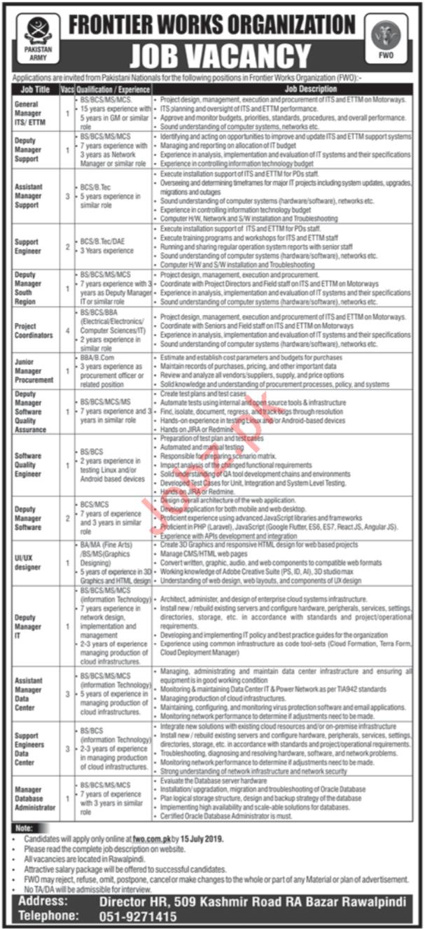 Pak Army Frontier Works Organization FWO Jobs 2019