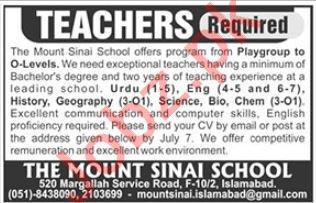 The Mount Sinai School Teacher Job in Islamabad 2019 Job