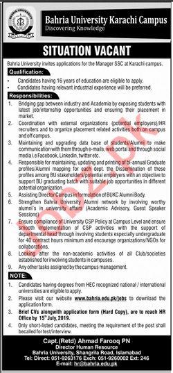 Bahria University Karachi Campus Jobs 2019