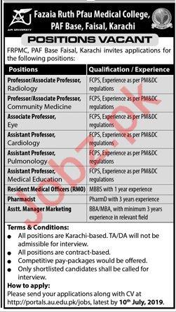 Fazaia Ruth Pfau Medical College FRPMC Jobs 2019
