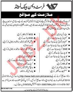 First Woman Bank Limited FWBL Karachi Jobs 2019