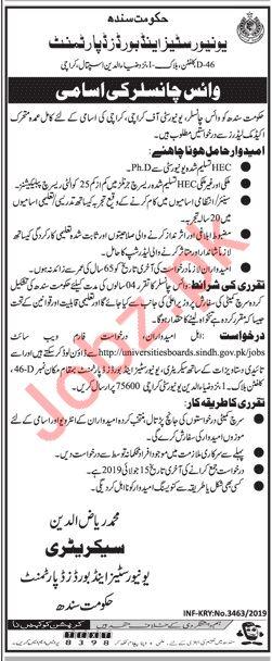University of Karachi UOK Jobs 2019 for Vice Chancellor