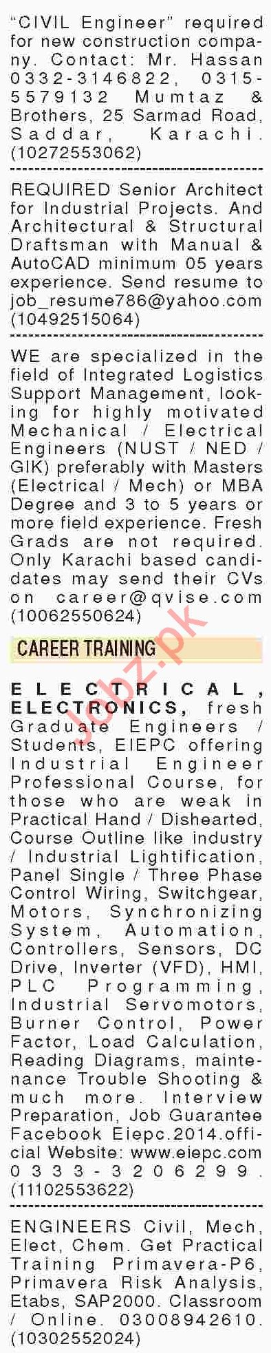 Dawn Sunday Newspaper Engineering Classified Jobs 01/07/2019