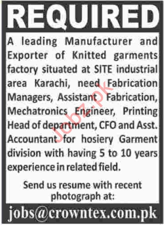Fabrication Manager & Assistant Accountant Jobs 2019