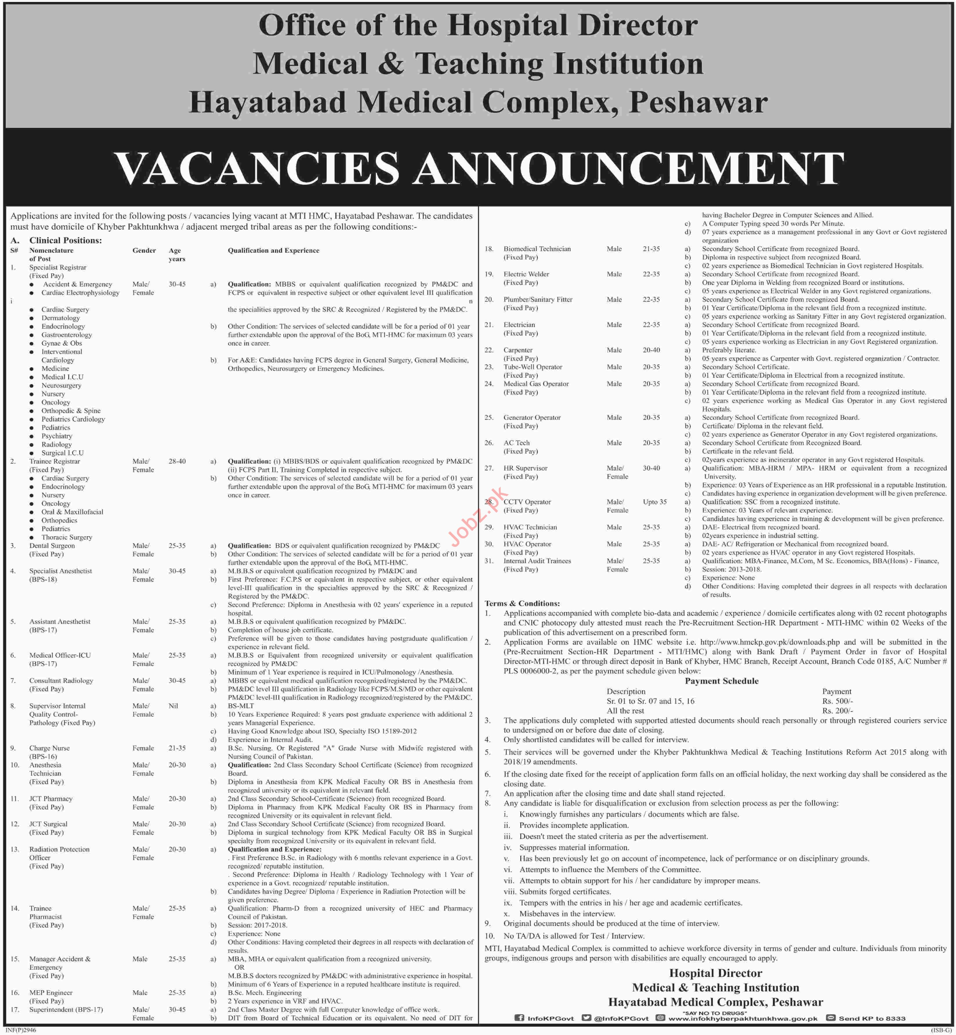 Hayatabad Medical Complex HMC Peshawar Jobs 2019