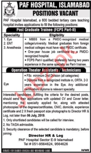 PAF Hospital Islamabad Jobs 2019 for Medical Specialist