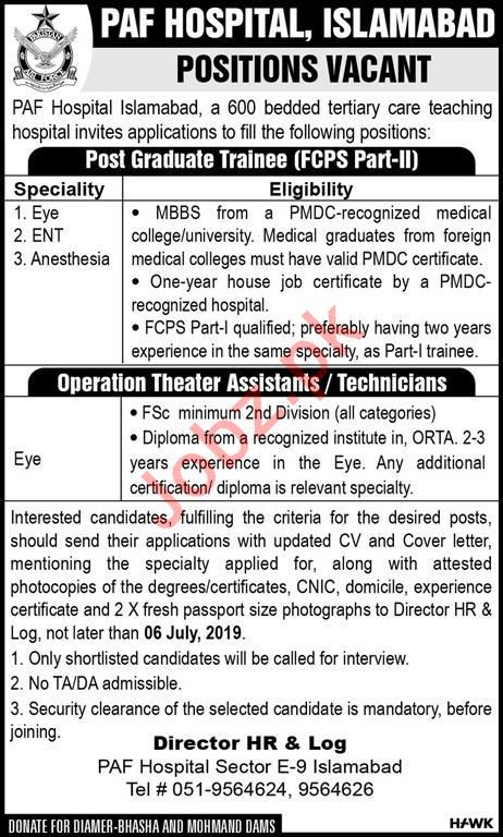 Pakistan Air Force PAF Hospital Jobs 2019 in Islamabad