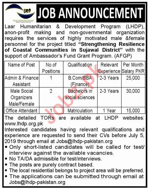 Laar Humanitarian & Development Program LHDP NGO Jobs 2019