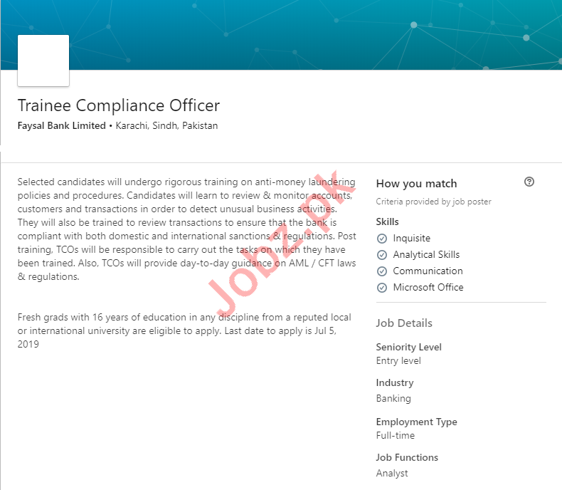 Faysal Bank Jobs for Trainee Compliance Officer