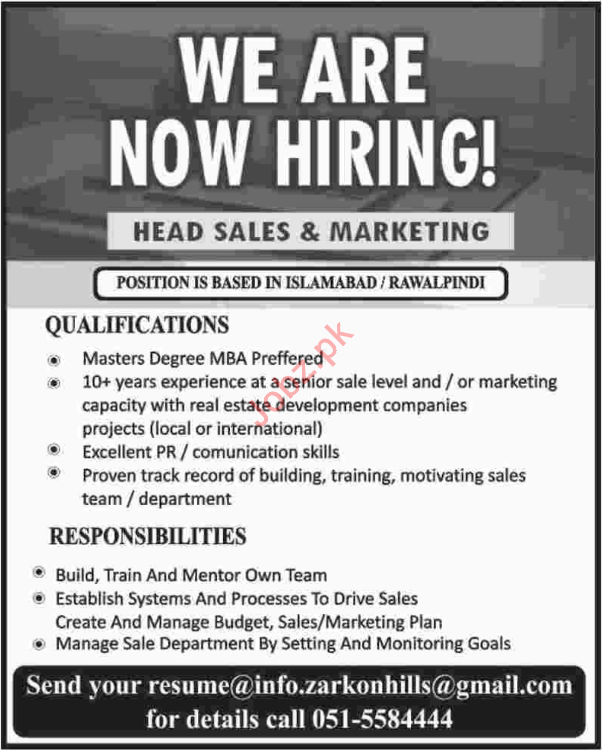 Head Sales & Marketing Jobs 2019