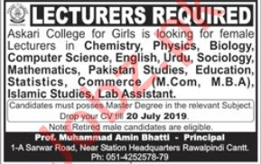 Askari College For Girls Jobs 2019 For Lecturers