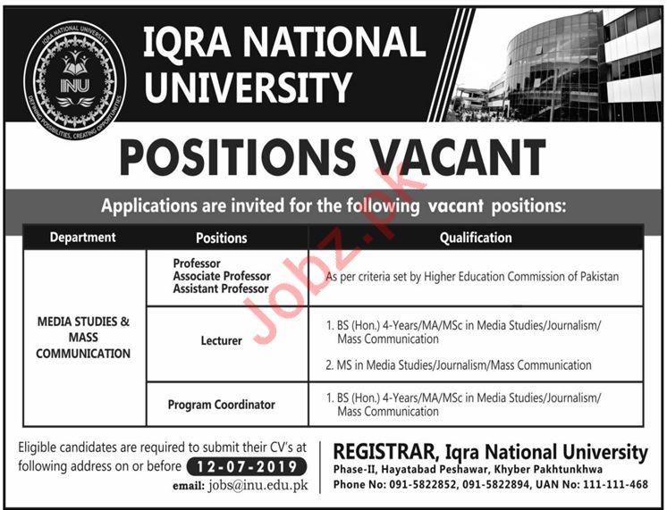 Iqra National University Teaching & Non Teaching Jobs 2019