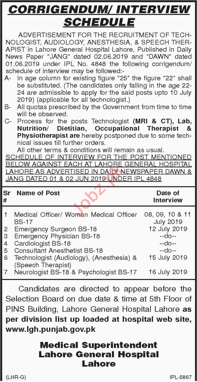 Lahore General Hospital Walk in Interview 2019