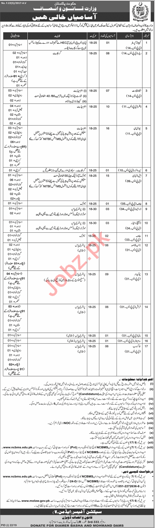 Ministry of Law & Justice Jobs 2019 in Islamabad