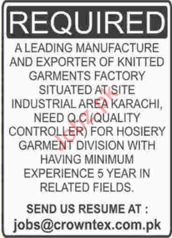 Crown Textile Karachi Jobs for QC Engineer