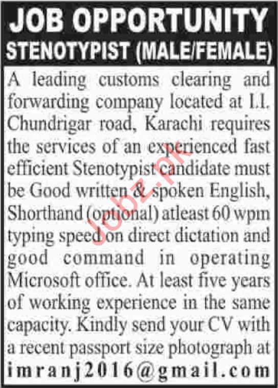 Steno Typist Jobs Career Opportunity