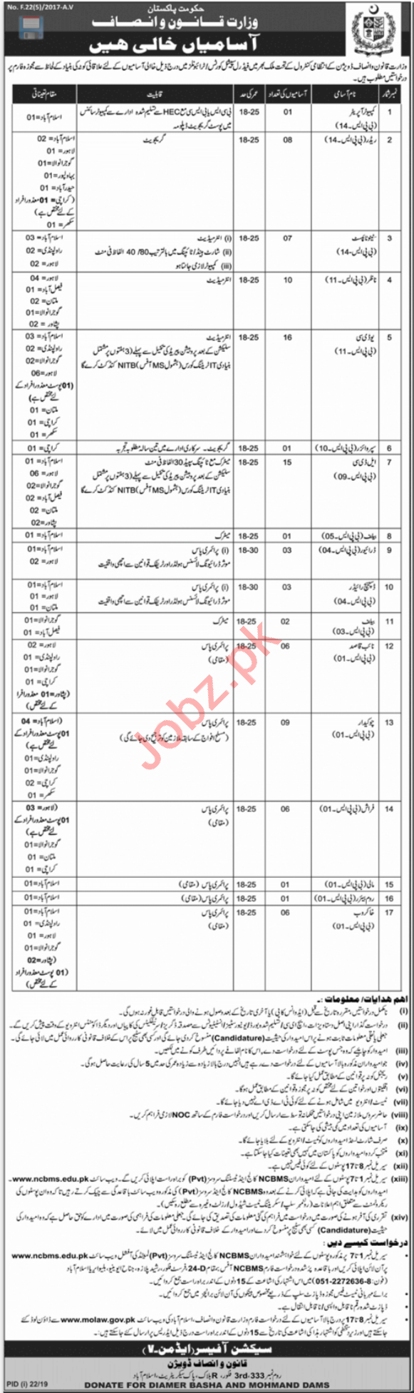 Ministry of Law & Justice Jobs 2019 in Rawalpindi