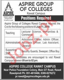Aspire Group of College Jobs 2019 in Rawat