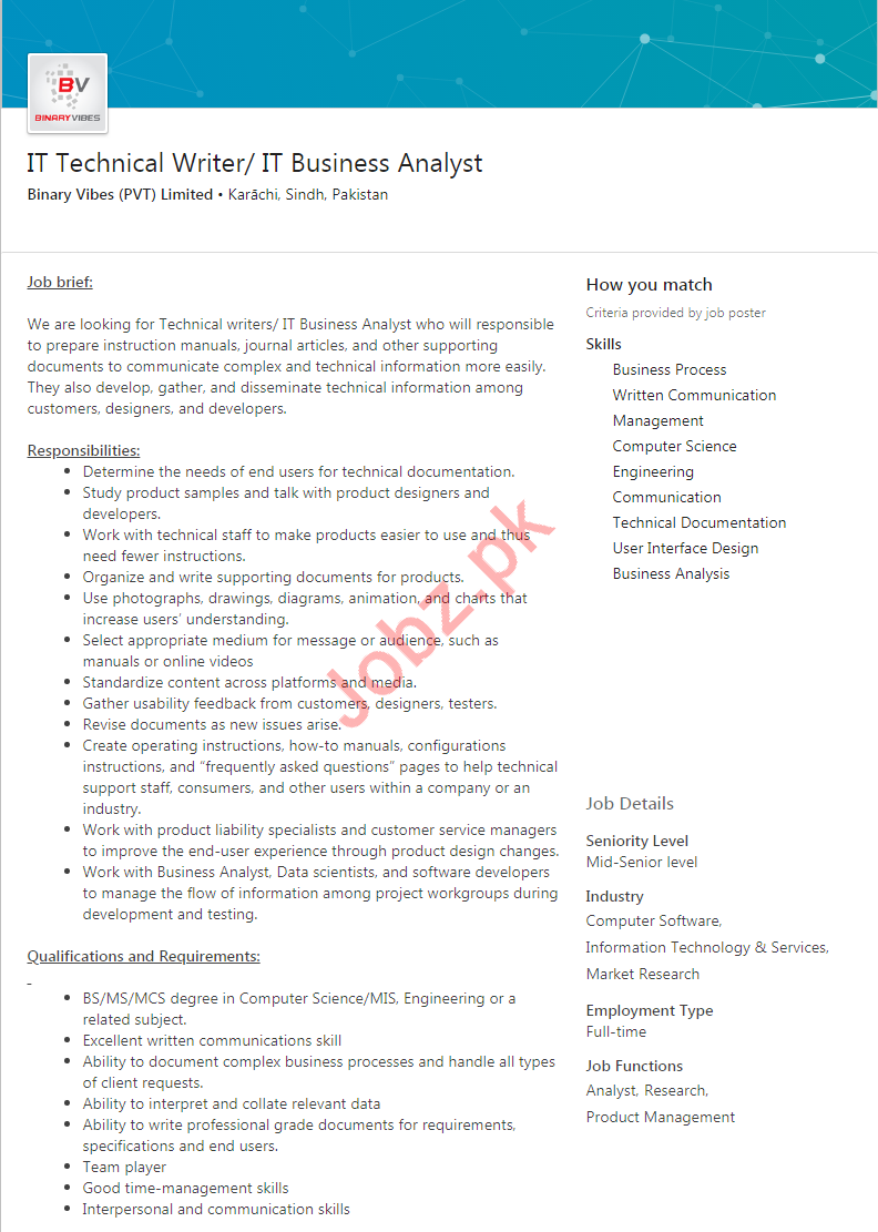 IT Technical Writer & IT Business Analyst Jobs 2019