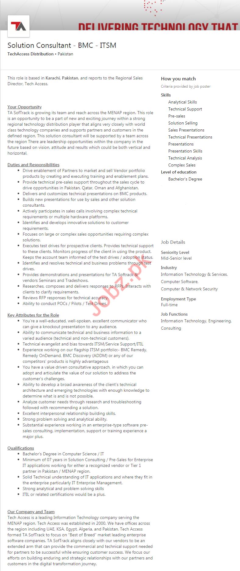 Solution Consultant Job 2019 in Karachi 2019 Job Advertisement Pakistan