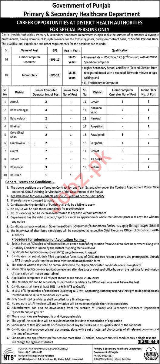 Primary & Secondary Healthcare Department Lahore Jobs 2019 Job
