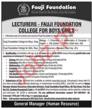 Fauji Foundation Colleges Jobs 2019 For Lecturers