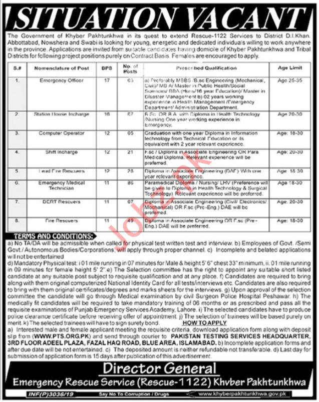 Join Rescue 1122 KPK Emergency Rescue Service Jobs via PTS 2019 Job