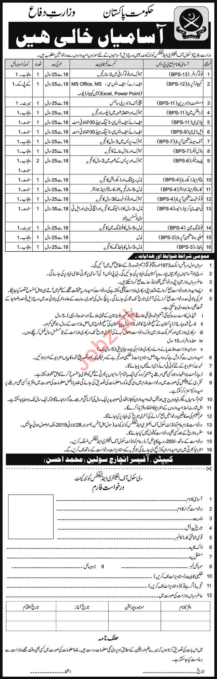 Ministry of Defence School of Infantry and Tactics Jobs 2019