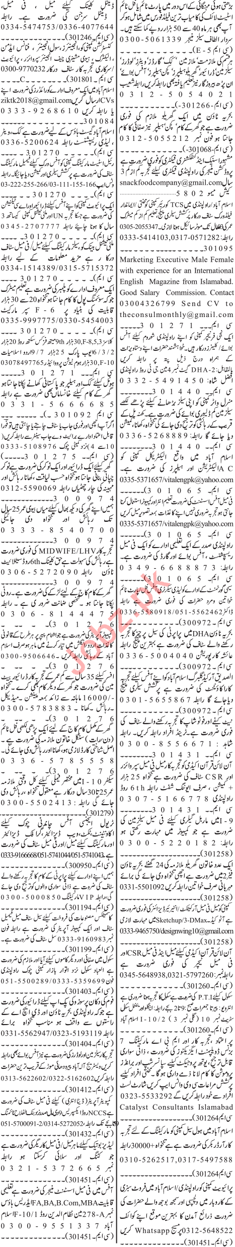 Jang Sunday Classified Ads 7th July 2019 for Multiple Staff