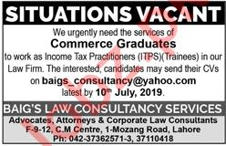 Baigs Law Consultancy Services Jobs 2019 in Lahore