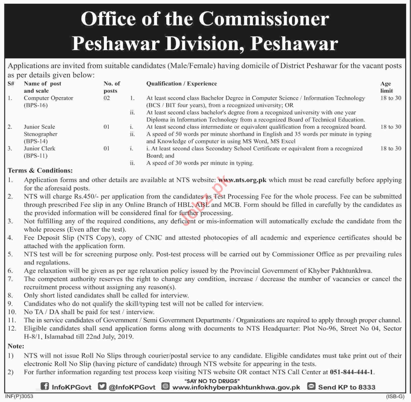 Commissioner Office Jobs 2019 For Peshawar KPK via NTS 2019 Job