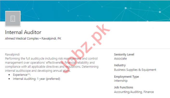Ahmed Medical Complex AMC Rawalpindi Jobs for Auditor