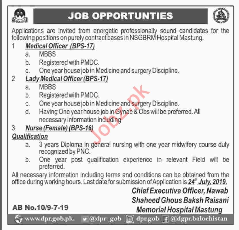 Shaheed Ghous Baksh Raisani Memorial Hospital Mastung Jobs
