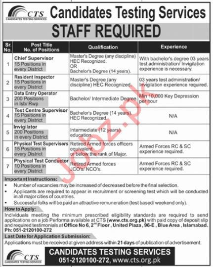 Candidates Testing Services CTS Jobs 2019 in Islamabad 2019