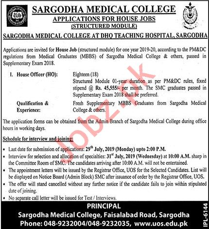 Sargodha Medical College Jobs 2019