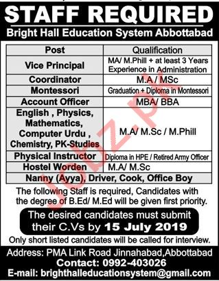 Bright Hall education System Jobs in Abbottabad