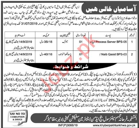 Senior Civil Judge Office Bannu Jobs 2019