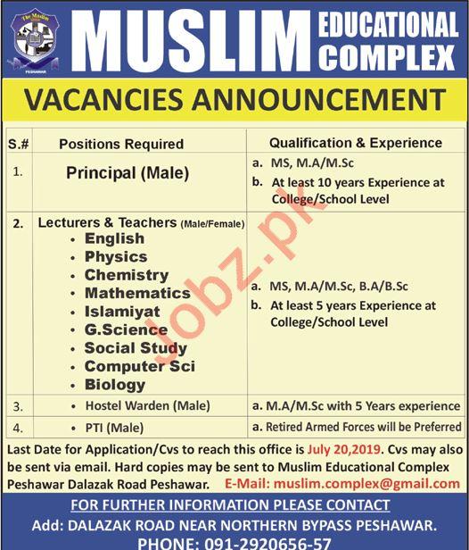Muslim Educational Complex Jobs 2019 For Peshawar KPK