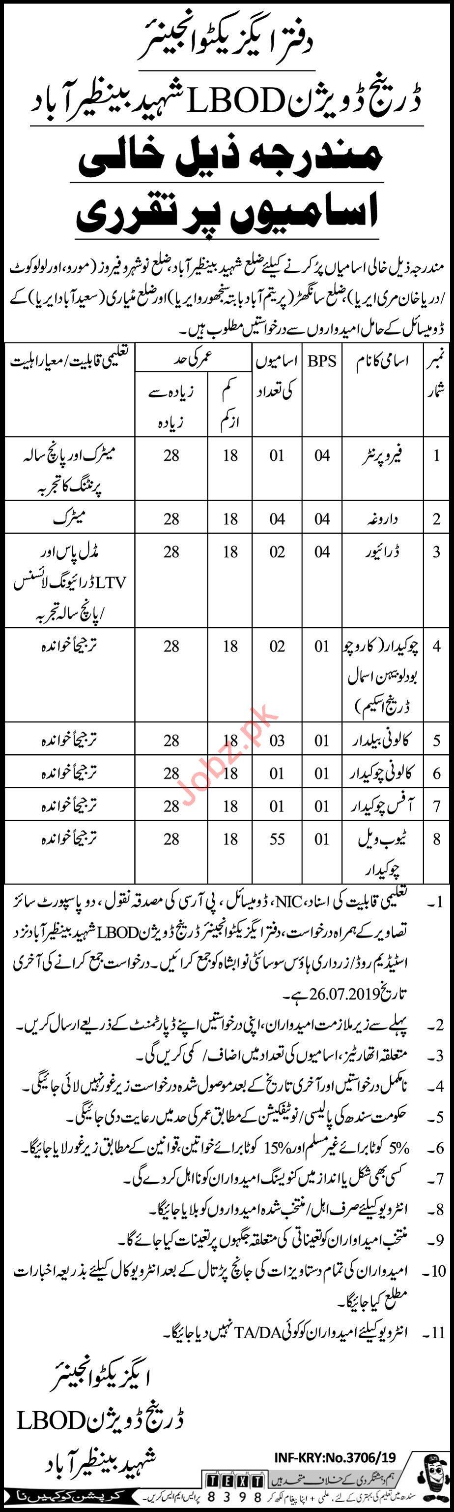 Irrigation Department Benazirabad Jobs 2019